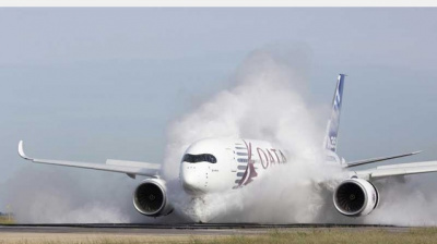 IN PHOTOS: Qatar Airway's Airbus A350 has a wet ingestion test