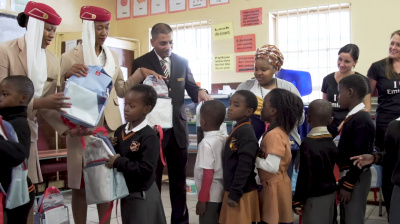 Video: Emirates upcycles billboards into school bags for kids in Johannesburg