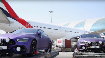 Video: 'The Purple Team' are wheels up and off to the Gumball 3000 with Emirates Skycargo