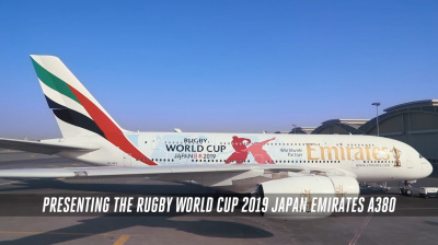 Video: Emirates adds Rugby World Cup 2019 livery to A380 aircraft