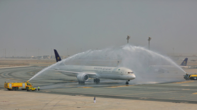 SAUDIA's first 787-10 Dreamliner arrives on the tarmac
