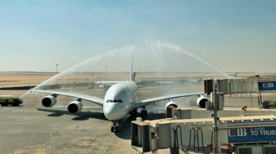 Emirates' debut A380 flight to Cairo touches down