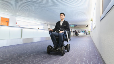 Japanese airport uses autonomous powerchair to distance passengers