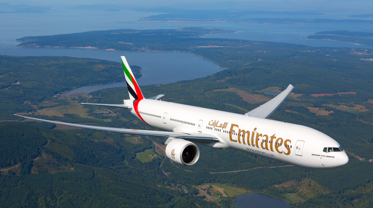 Emirates' fleet of B777s (pictured) and A380s is to be complemented with 30 787 Dreamliners and 50 A350s.