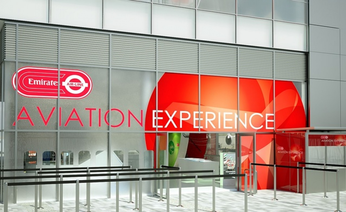 A rendering of the exterior of the Emirates Aviation Experience, due to open in London this July