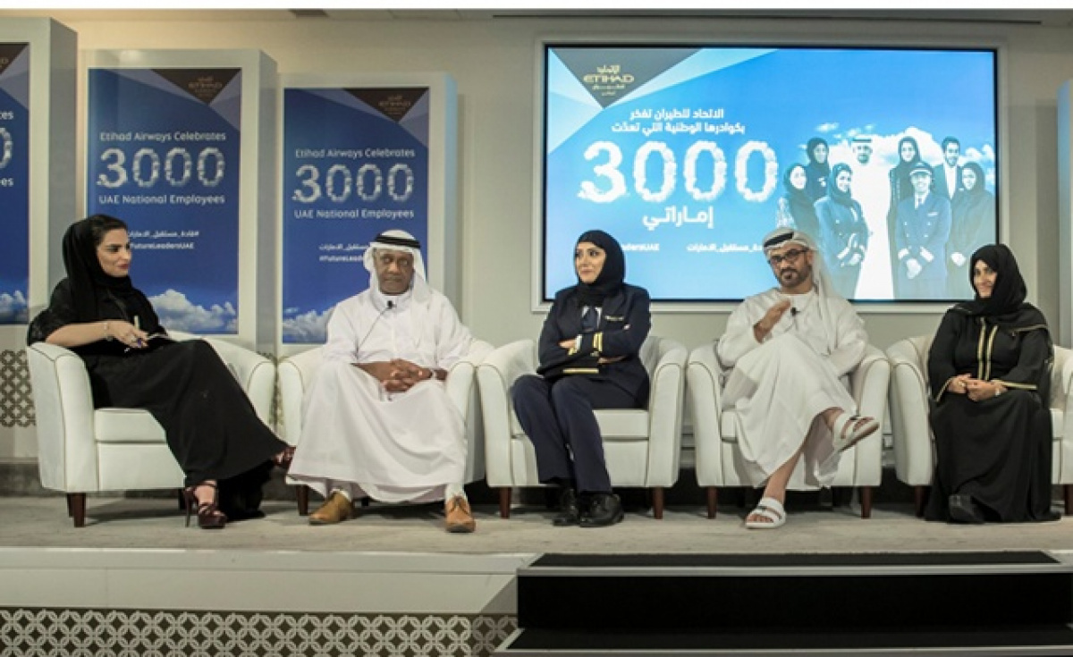 Etihad Airways' UAE national employees taking part in a panel discussion included: (left to right) head of corporate communications Amina Taher; senior vice president, security and national pilot development, Salah Awadh Alfarajalla; first officer Muna Al Hammadi; vice president Emiratisation strategy Ali Al Shamsi; and guest service agent Ameena Al Marzooqi