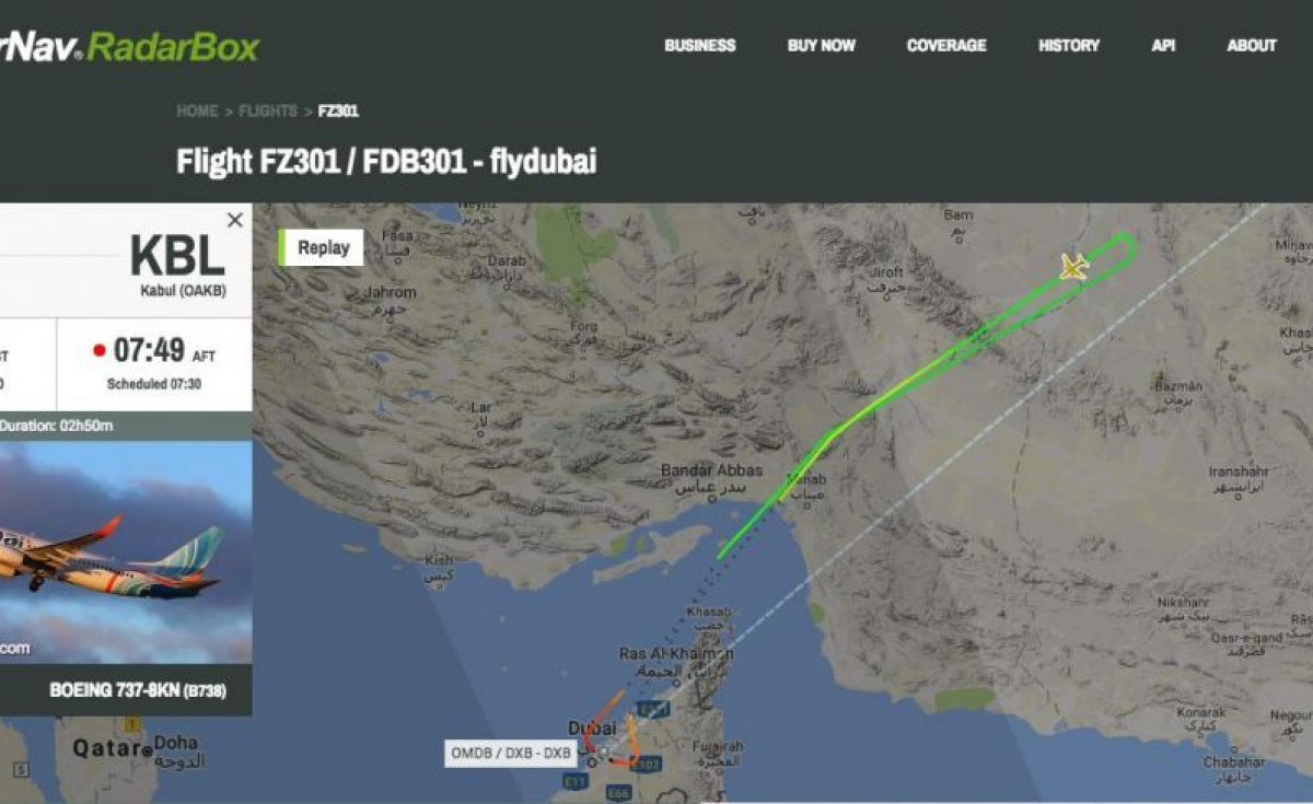 FZ301 from Dubai (DXB) to Kabul (KBL) returned to Dubai as there was a disruptive passenger onboard.