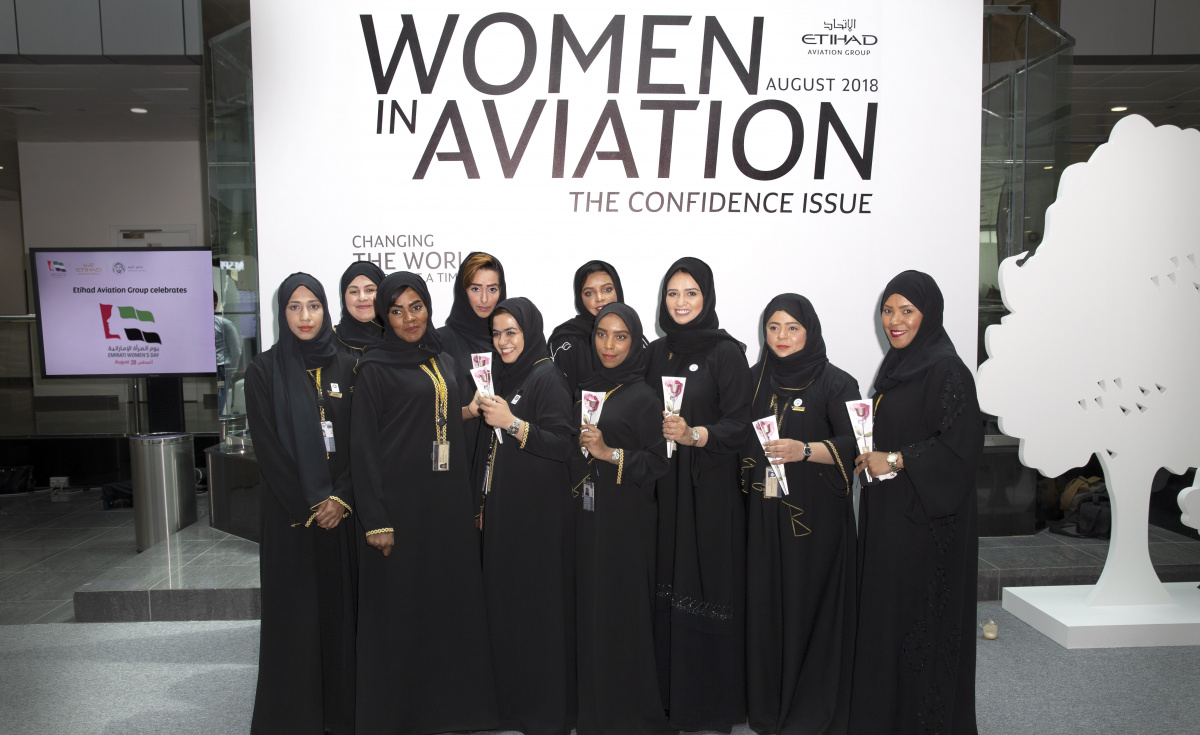 Etihad employees at one of the Emirati Women's Day 2018 events at Etihad headquarters in Abu Dhabi.