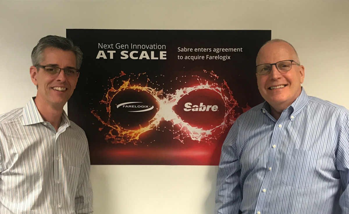 (L-R): Dave Shirk, president of Sabre Travel Solutions and Jim Davidson, CEO of Farelogix.