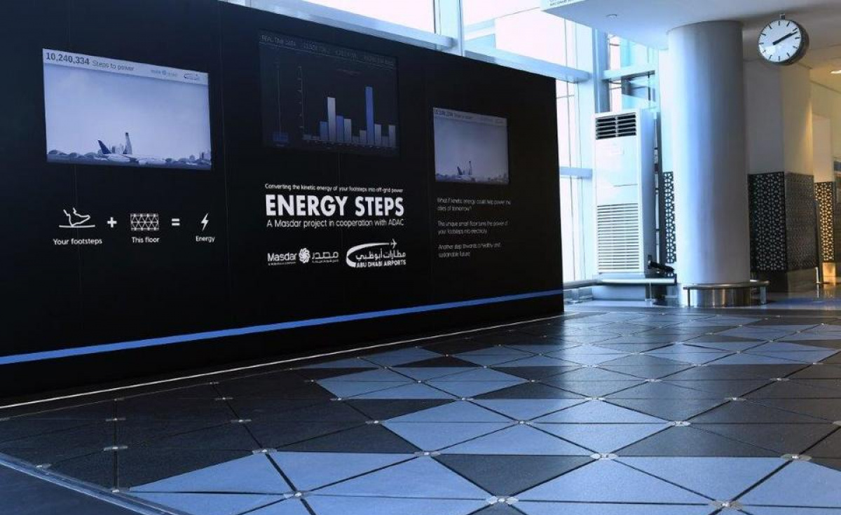 The footsteps of around 8,000 travellers per day are being captured and converted into electrical energy to track footfall data and power lighting along the walkway.