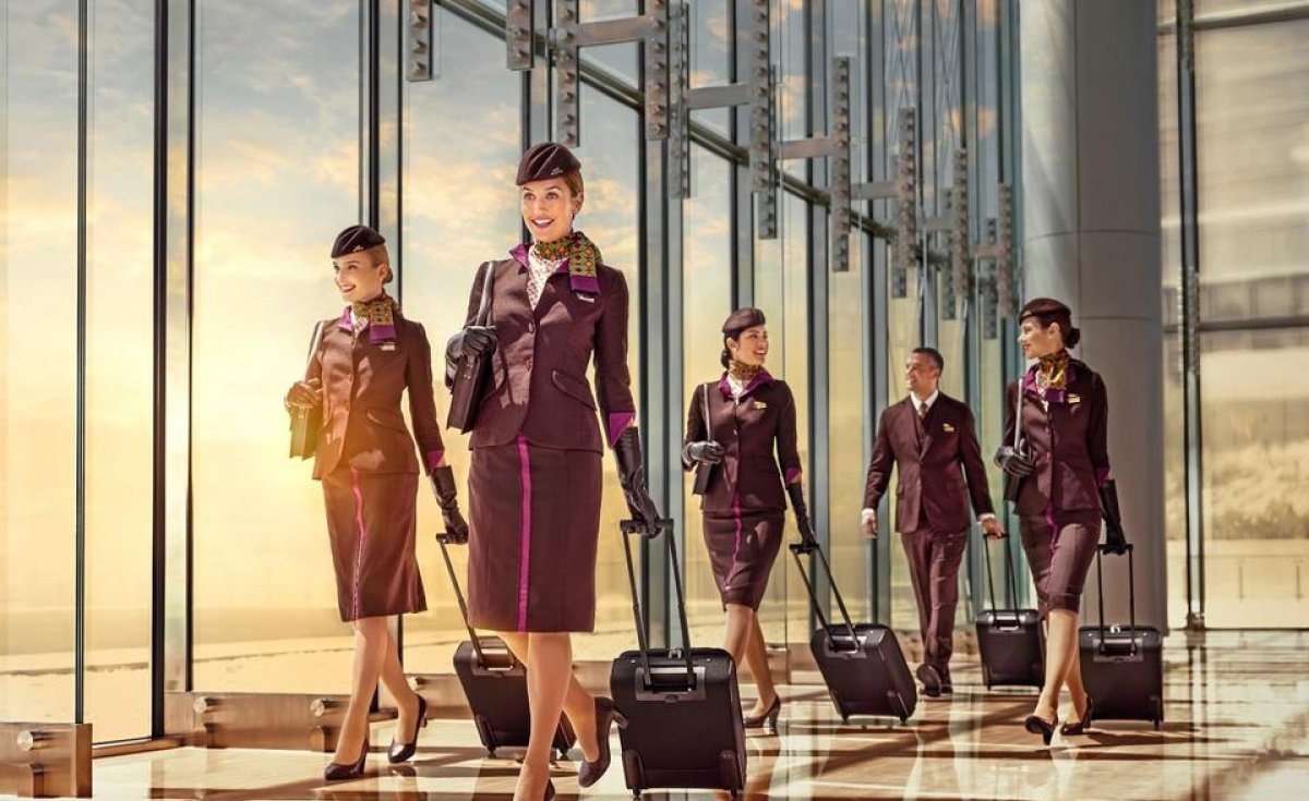 Cabin crew are provided with a tax-free income, company medical insurance, concessional travel benefits, transport, uniforms, fully furnished company accommodation in Abu Dhabi, and discounts on food and beverage and leisure activities.