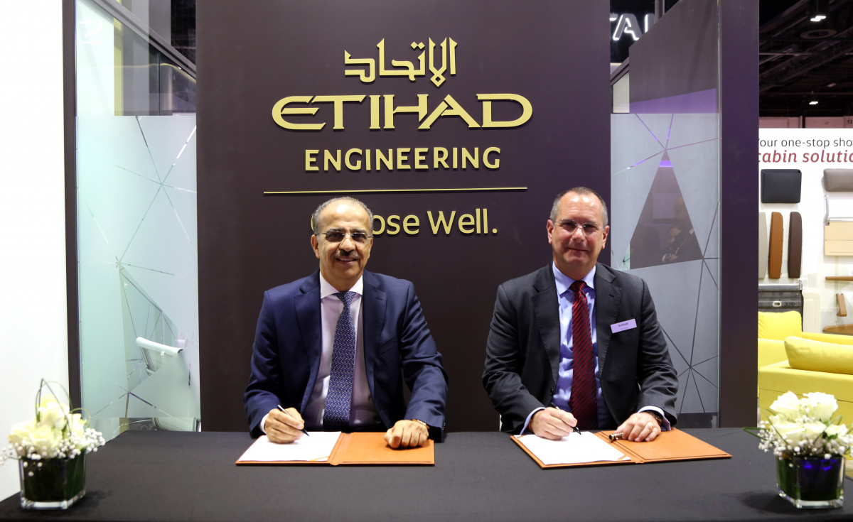 The signing ceremony was conducted by Abdul Khaliq Saeed, CEO of Etihad Airways Engineering and Terry Stone, managing director and head of Sales and Support EMEA, Satair.