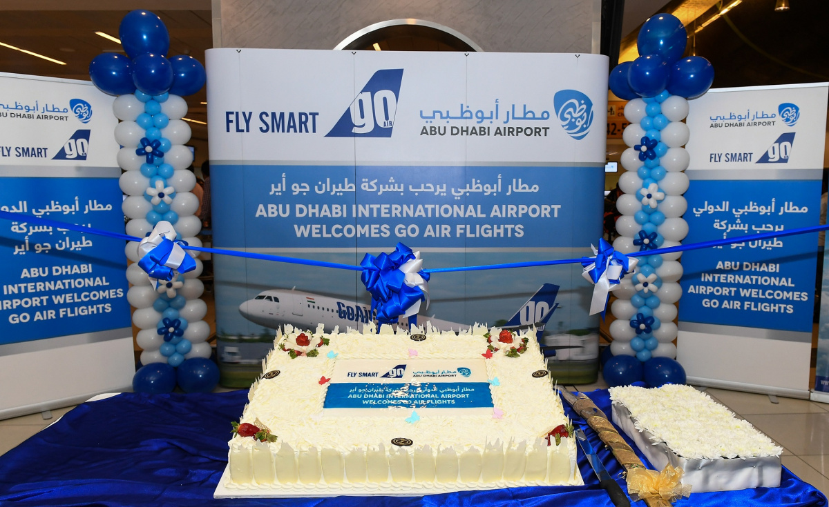The inaugural GoAir flight arrived at AUH on 2 March at 00:40 local.