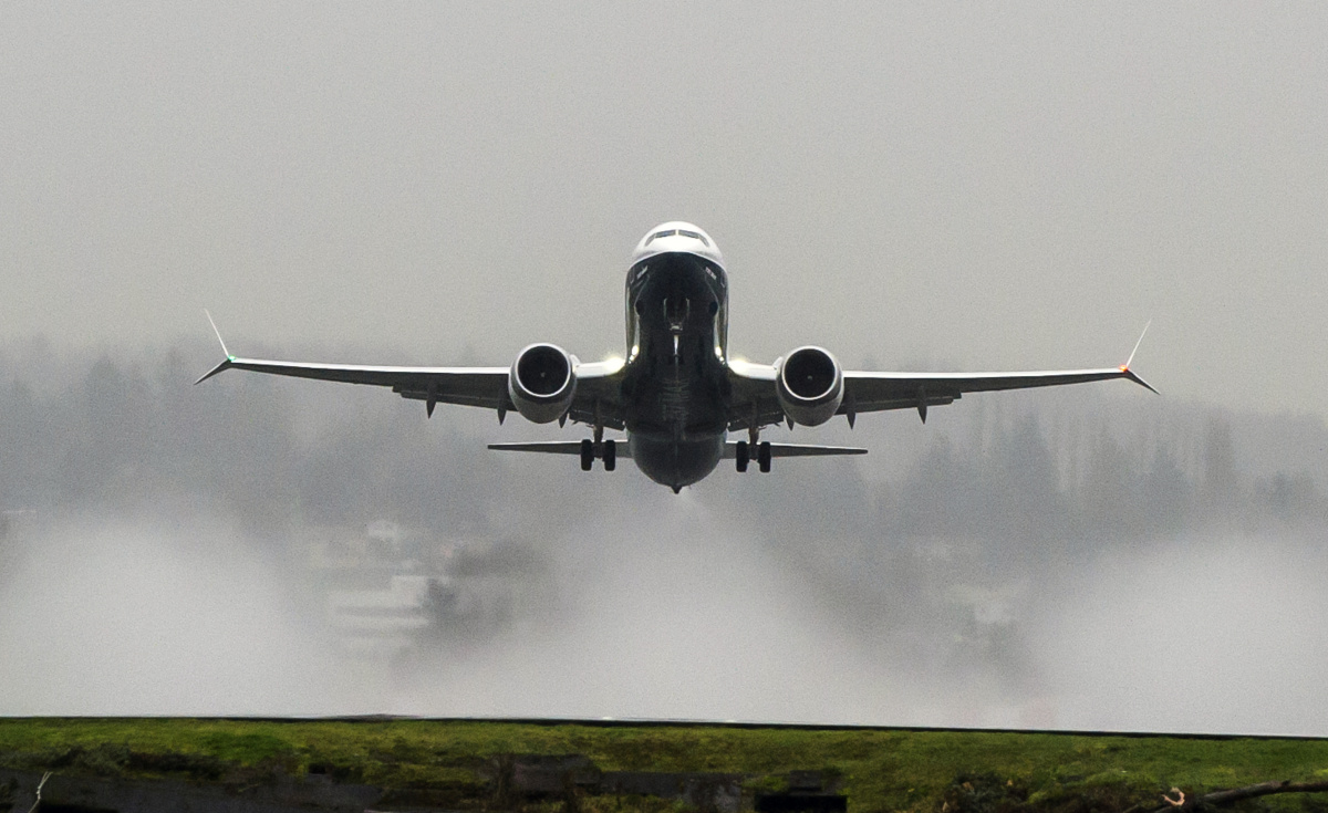 A 737MAX takes off from Renton Field