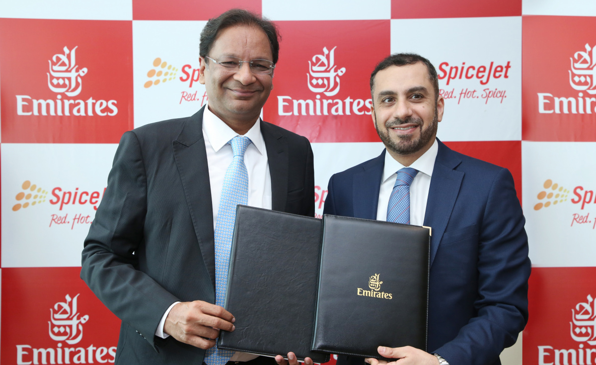 Emirates and SpiceJet have signed a Memorandum of Understanding (MoU) to enter into a reciprocal codeshare agreement.