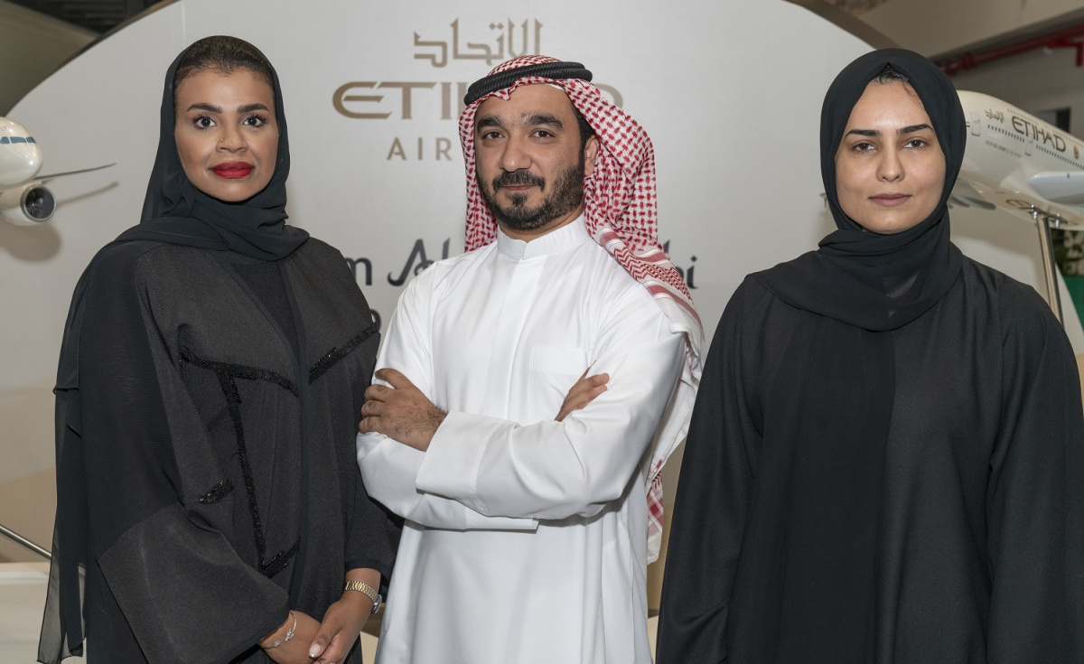 (L-R): Raya Mohamed Ibrahim, head of UAE Key accounts; Bader Ahmed Al Ali, senior manager commercial for UAE home market; and Haleema Al Hosani, senior manager for Global Customer programme and Cargo Loyalty scheme.