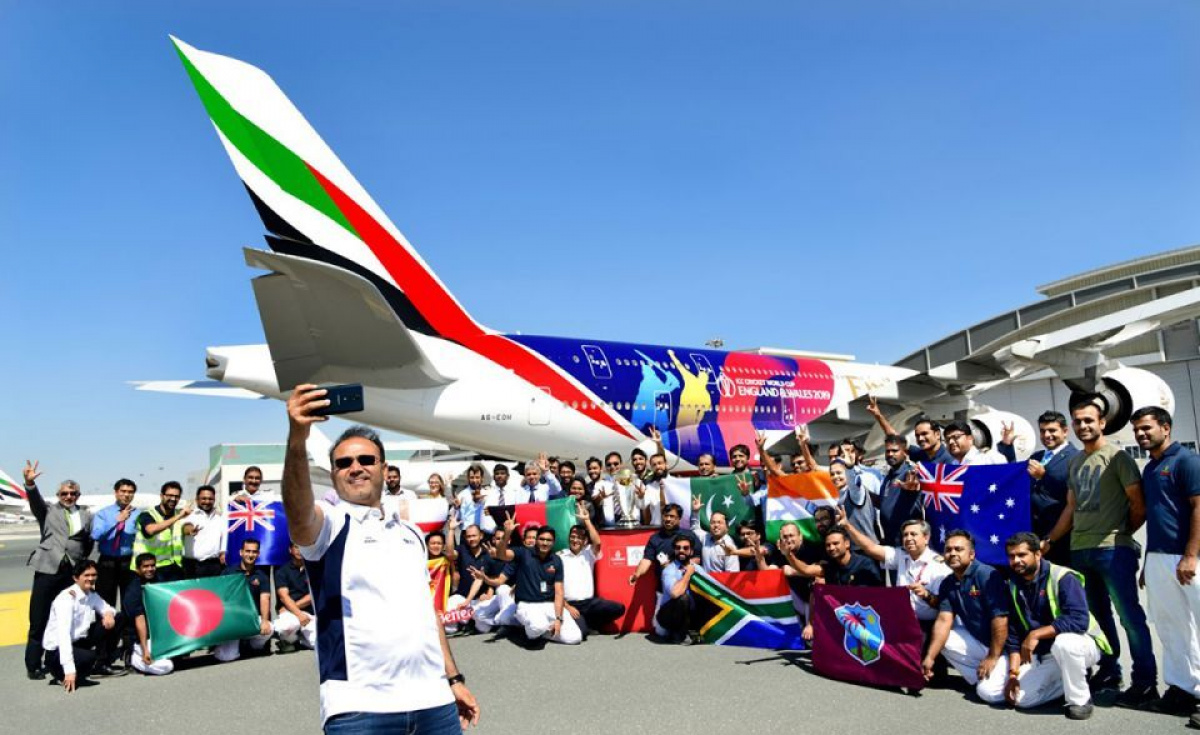 In March this year, former Indian cricketer and Member of the Men's World Cup 2011 winner Virender Sehwag, along with Emirates-sponsored Lancashire team players Tom Bailey and Saquib Mahmood, helped to launch the ICC Cricket World Cup 2019 themed Emirates A380 livery aircraft out of the Emirates engineering hangar.