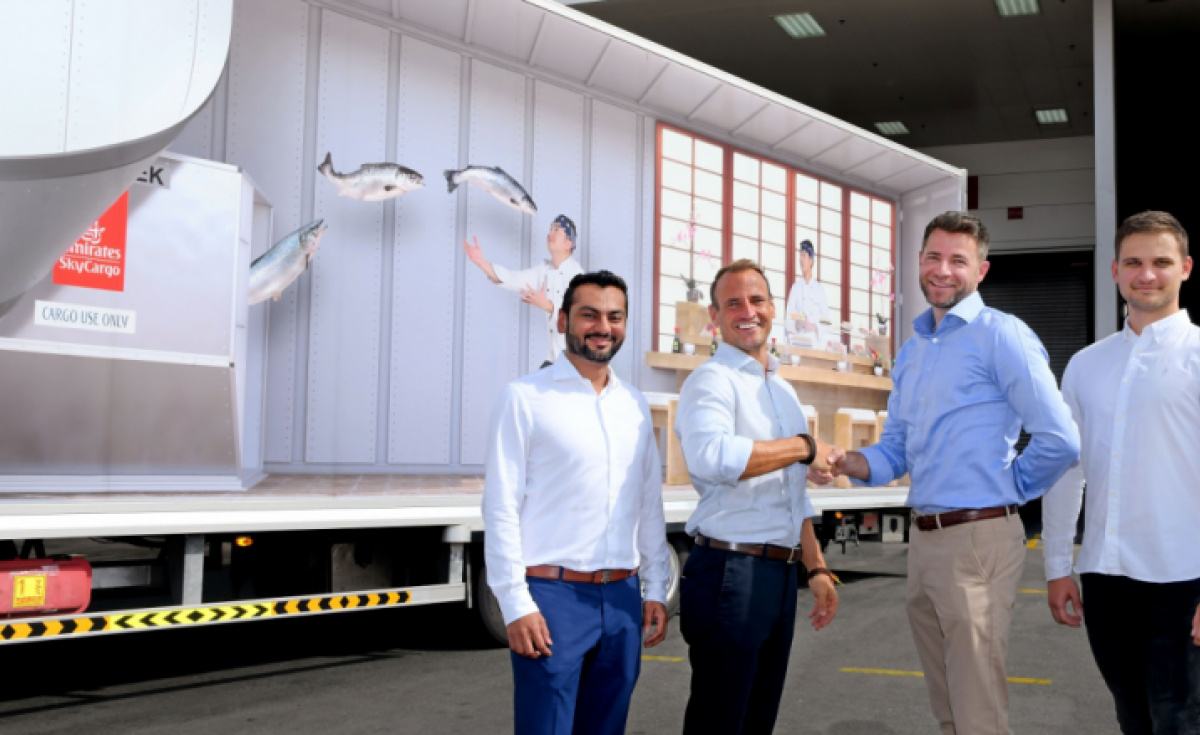 Sayed Harris, cargo manager, Emirates SkyCargo; Sean Dennis, CEO and co-Founderf Seafood Souq; Dennis Lister, VP cargo commercial development, Emirates SkyCargo and Dennis Konoplev, COO and co-founder, Seafood Souq.