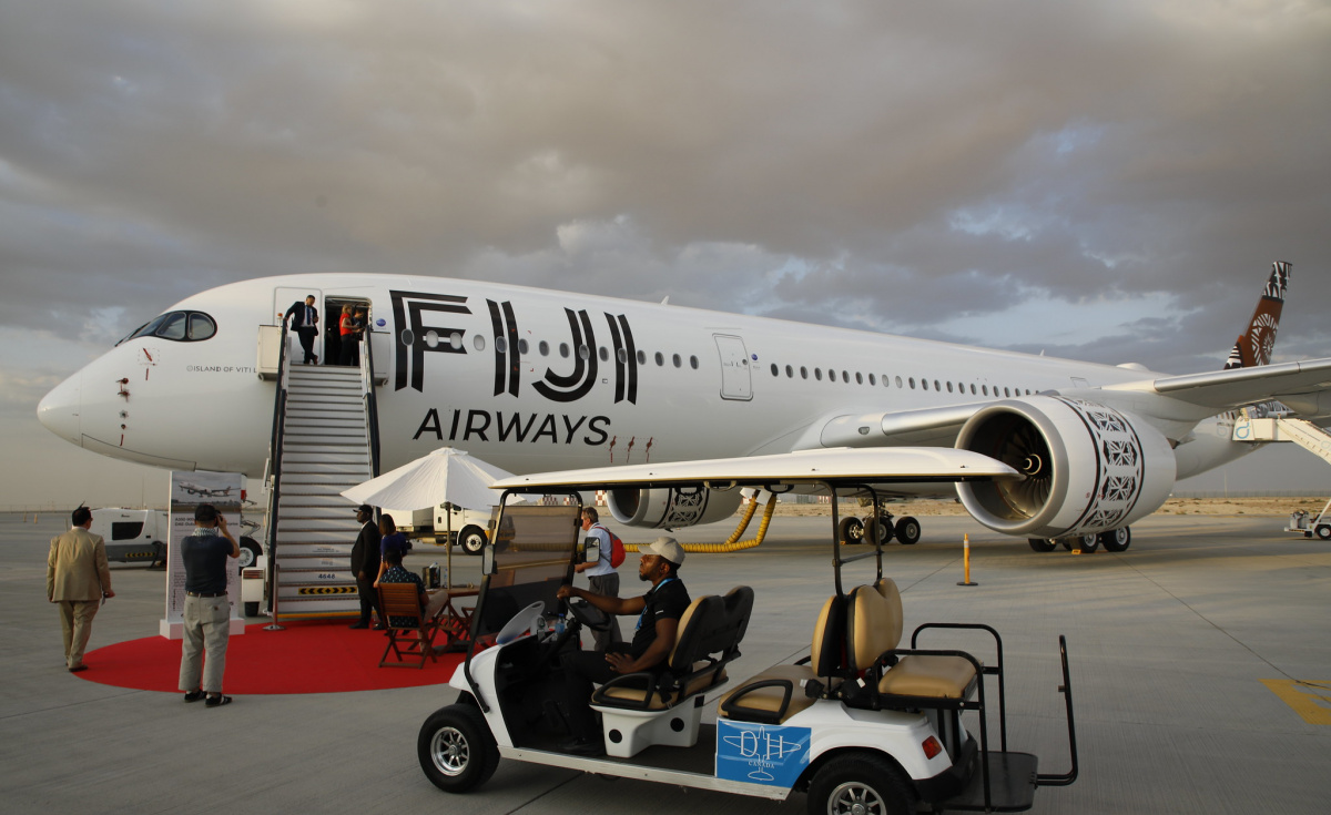 Fiji Airways took delivery of its first A350-900s in November. This A350 was exhibited on the tarmac at the Dubai Airshow.