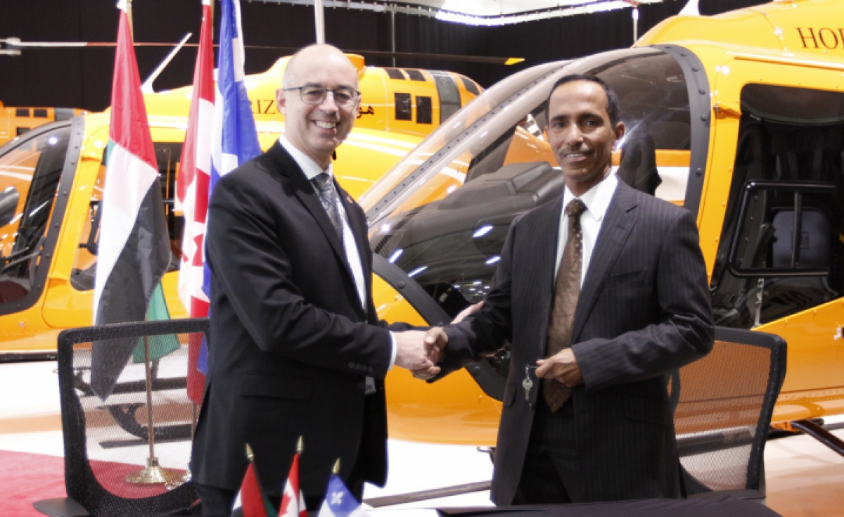 Steeve Lavoie, president of Bell Helicopter Textron Canada Ltd and Hareb Al Dhaheri, CEO Horizon Flight Academy International