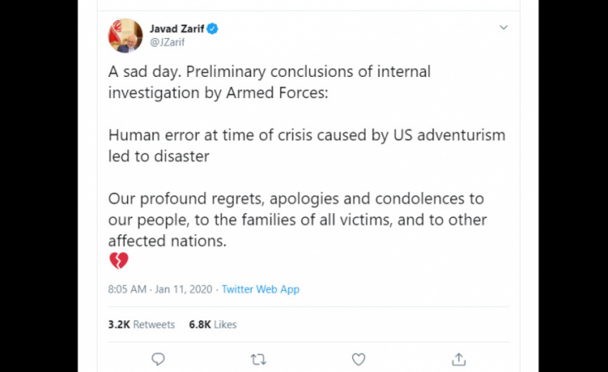 Iran's foreign minister tweeted revealing the findings of an initial investigation into the cause of the crash.