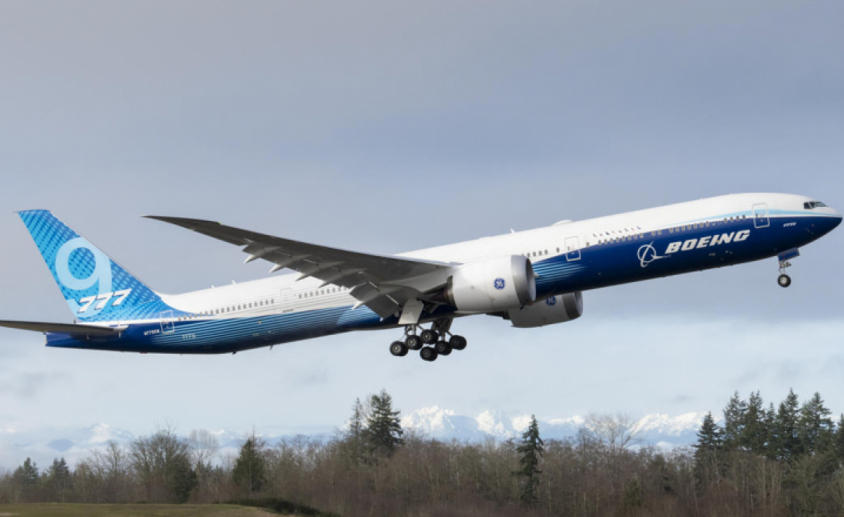 Boeing 777X WH001 makes its first flight at Paine Field in Everett Washington