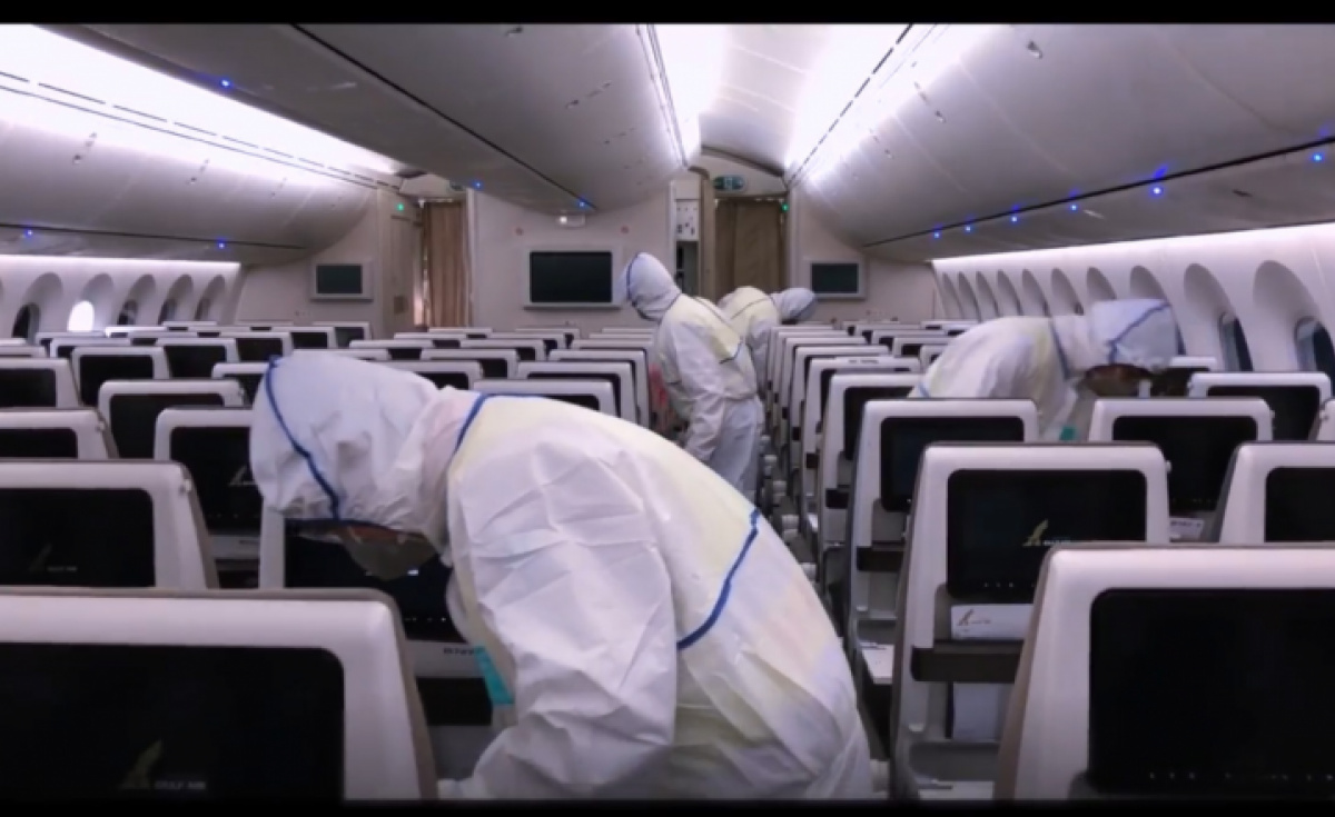 Gulf Air, Coronavirus, Aircraft cleaning, Disinfection